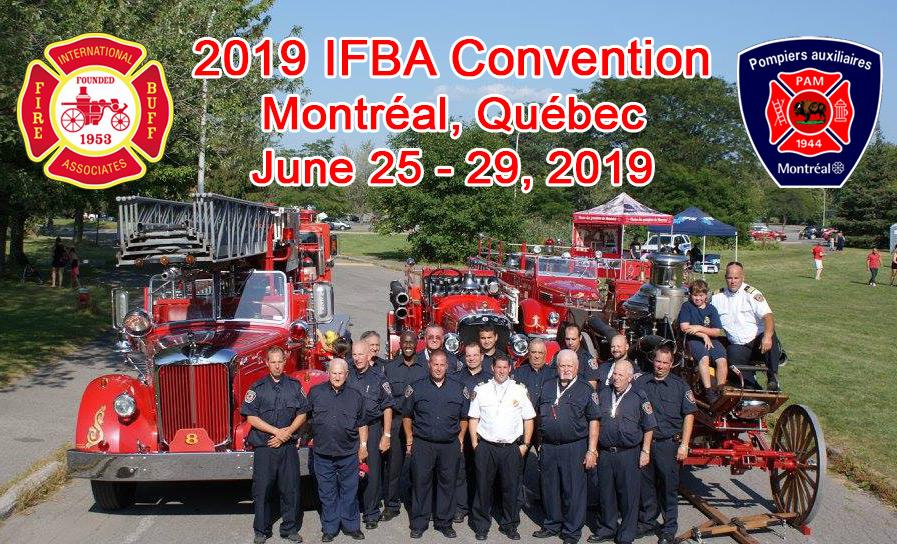 Members of the Pompiers Auxiliaires de Montréal posing with antique fire apparatus